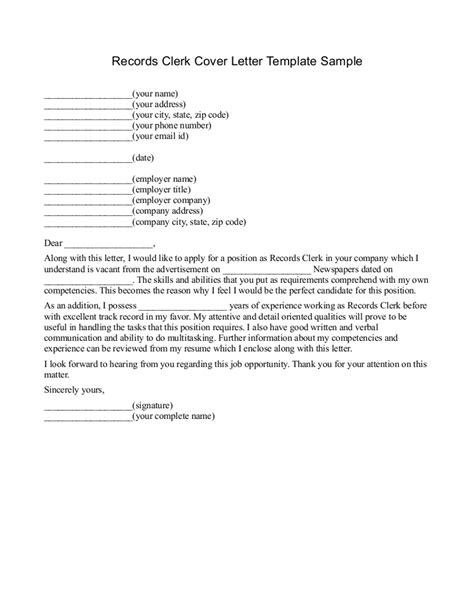 Clerk Cover Letter by Cover Letter For Records Clerk Dailynewsreports395 Web Fc2