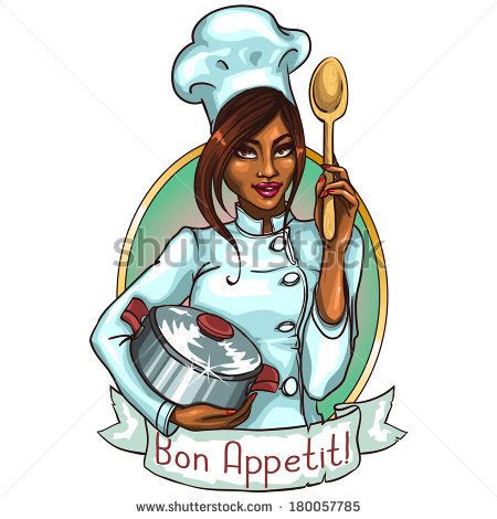 Bon Appetit Kitchen Collection pretty chef with pot and spoon label with ribbon banner