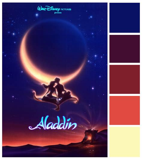 colors and themes in movies poster palette aladdin disney rooms bedroom themes