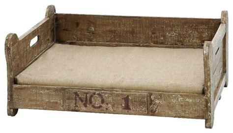 rustic dog bed vintage pet bed bone shaped wood frame burlap dog home