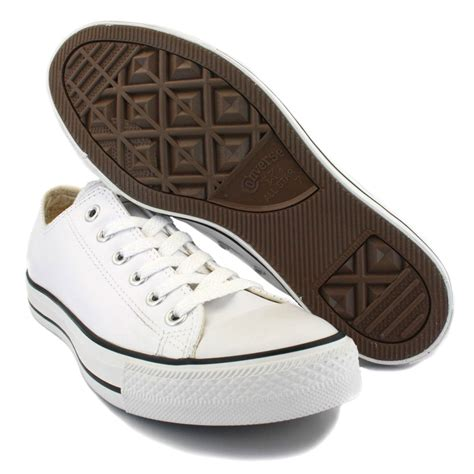 converse all leather ox white black unisex trainers