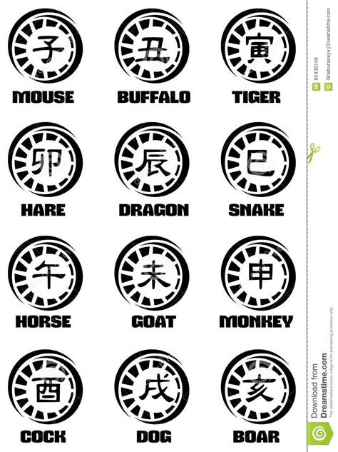 zodiac tattoo prices ideograms of chinese zodiac signs tattoo stock vector