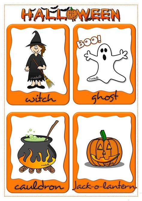 halloween flashcards printable a 5 minute activity halloween edition worksheet free esl
