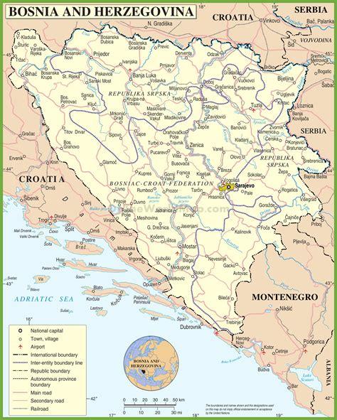 bosnia map road map of bosnia and herzegovina