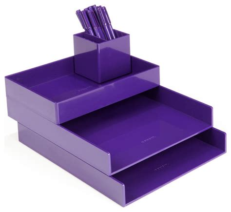 Modern Desk Sets Desktop Purple Modern Desk Accessories