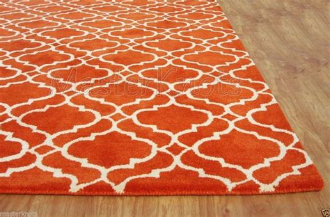 orange rug brand new riyana scroll tile orange 5x8 8x5 handmade