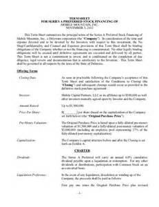 Term Sheet Sle Template by Tcn Model Term Sheet