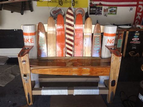 water ski bench waterski bench i made for my father built it outta his old water skis from the 60s and 70s