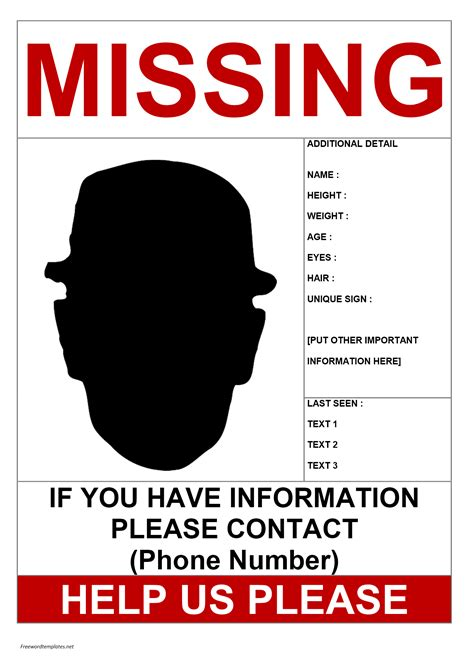 missing person template missing person poster template