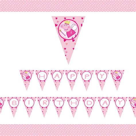 Peppa Pig Flag Birthday diy printable peppa pig happy birthday banner by