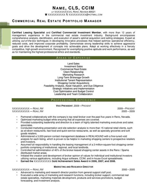 commercial property manager resume executive resume sles resume prime