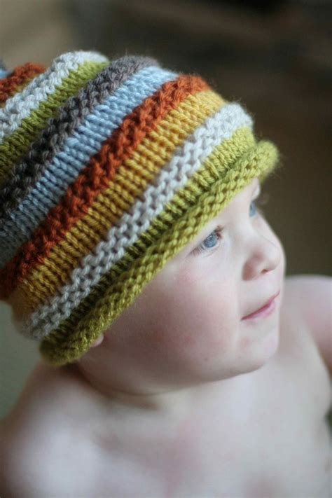 baby knitted boy s knit hat with colourful stripes size 18 months to 4