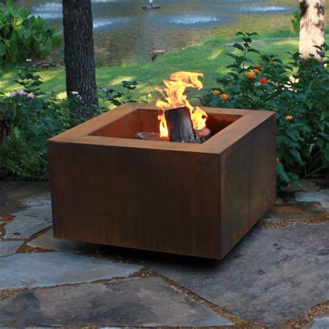 corten pit corten steel pit square patio pit starfire direct