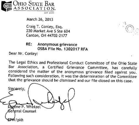 Customer Complaint Letter Compensation Quot Rule Of Quot Wins The Day Conley Overcomes Ethics Complaint In Bringing Common Pleas Court