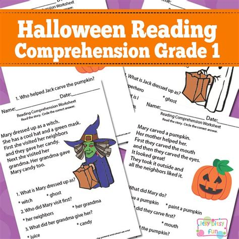 halloween reading themes halloween reading comprehension worksheets for 1st grade