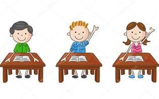 kinder am tisch schule kinder sitzen am tisch stockvektor