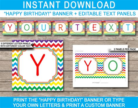 download printable birthday banner rainbow party banner template birthday banner editable