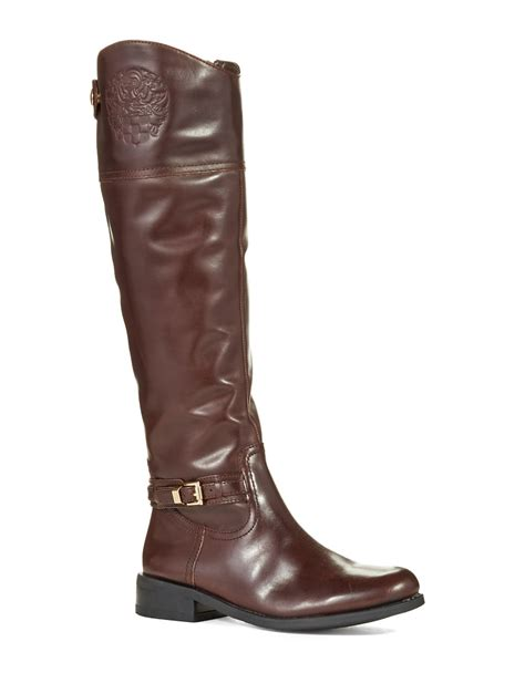 vince camuto kable wide calf boots in brown lyst