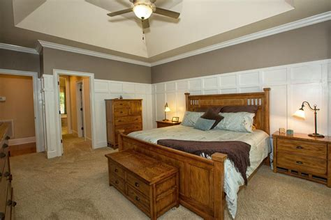 wainscoting ideas for bedroom craftsman master bedroom with high ceiling wainscoting