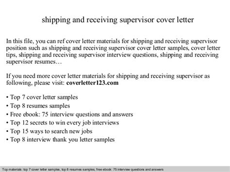 Receiving Supervisor by Shipping And Receiving Supervisor Cover Letter