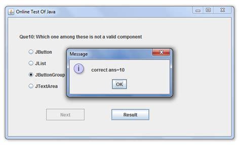 java swing quiz java applet 214 rnekleri internet 220 zerinden sınav yapabilen