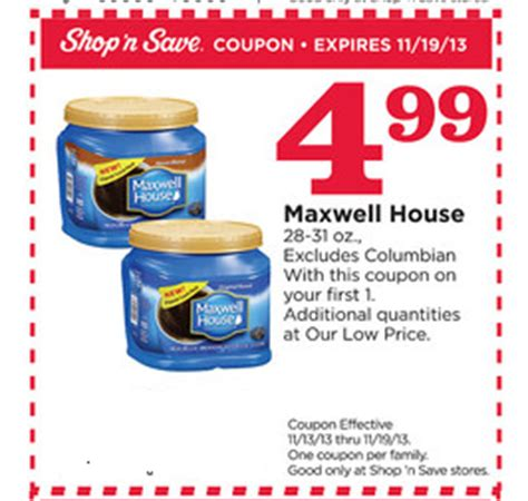 printable maxwell house coupons coupon stl shop n save maxwell house coffee for 3 99