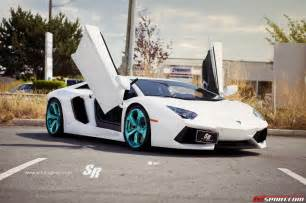 Lamborghini With Rims Bianco Lamborghini Aventador With Turquoise Blue Colored Wheels Gtspirit