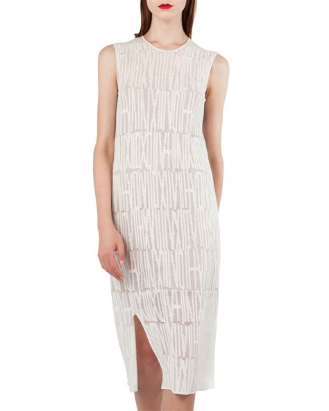 V Neck Sleeveless Knit Midi Dress akris sleeveless jacquard knit midi dress neiman