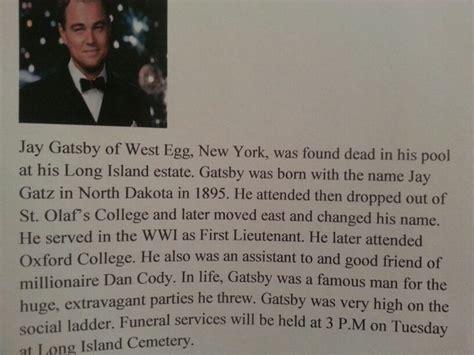 violence theme in the great gatsby gatsby s obituary nick s scrapbook pinterest gatsby