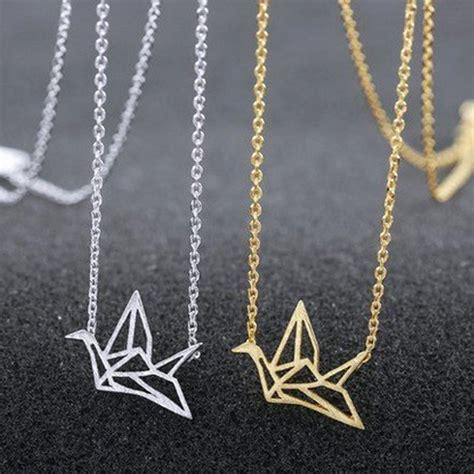 Origami Crane Chain - gold silver plated origami crane chain pendant necklace