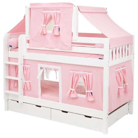 bunk bed tents pink and white tent bunk bed in white by maxtrix kids 700 2