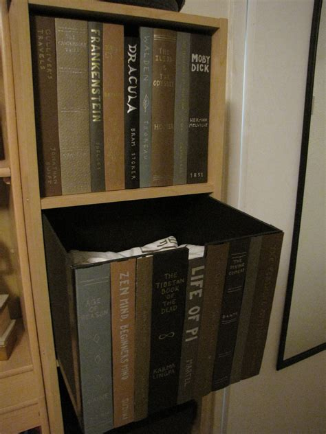 make a box with faux book spines to hide stuff inside