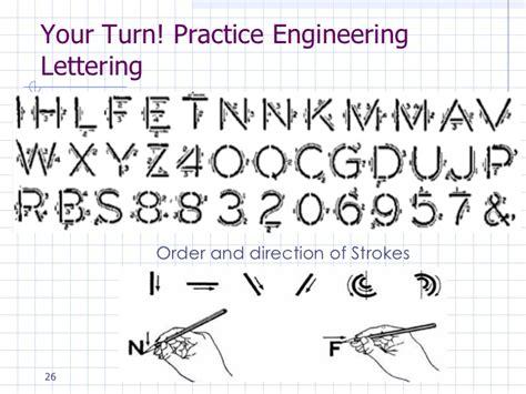 Engineering Lettering Practice engineering drawing engineering lettering lesson 3