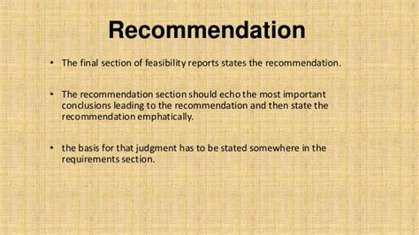 recommendation section of a report feasibility report basic concepts with exle