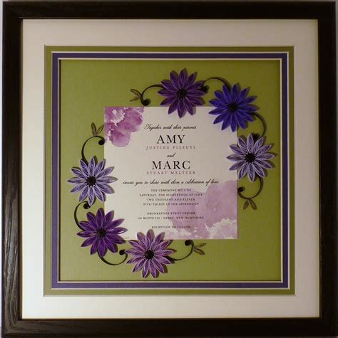 framed wedding invitation crafted wedding invitation quilled keepsake framed wall custom by quilling by