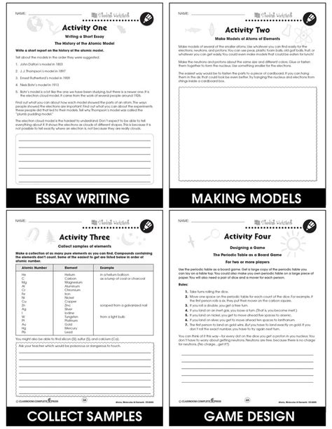 Atoms And Elements Worksheets For 5th Grade