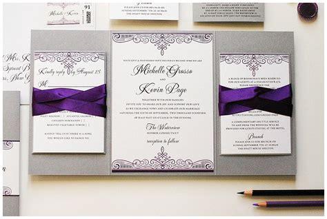 wedding invitation template purple damask instant download