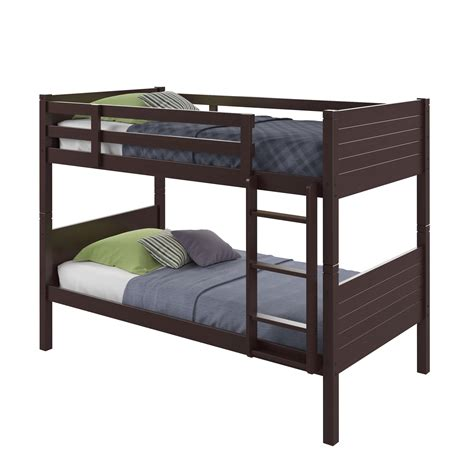 amazon twin bed amazon com corliving baf 390 b ashland bunk bed twin single dark cappuccino