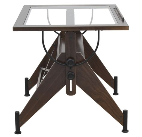Aries Clear Tempered Glass And Wood Drafting Table Dark Best Drafting Table