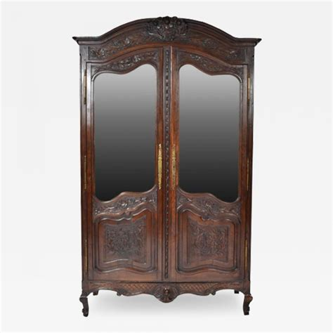 mirrored door armoire antique french provincial oak louis xv mirrored door