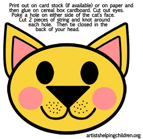 printable cat mask template printable cat crafts