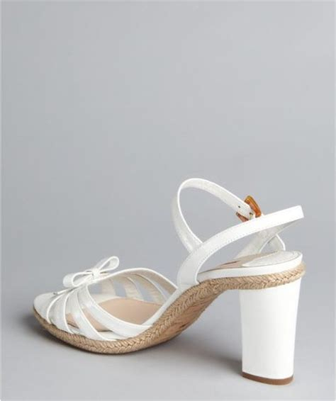 white bow sandals prada prada sport white patent leather bow sandals in