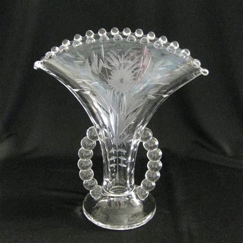 Candlewick Vase by Vintage Imperial Glass Candlewick Cornflower Etch Fan Vase