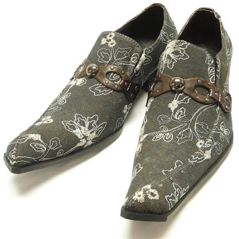 paisley pattern house shoes fiesso brown with white embroidered paisley design