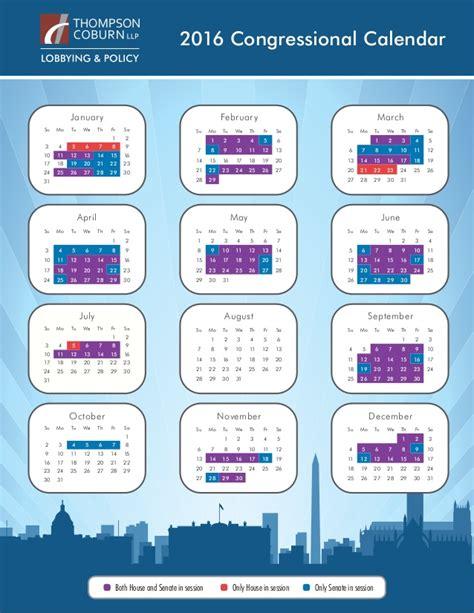Congressional Calendar 2016 Congressional Calendar