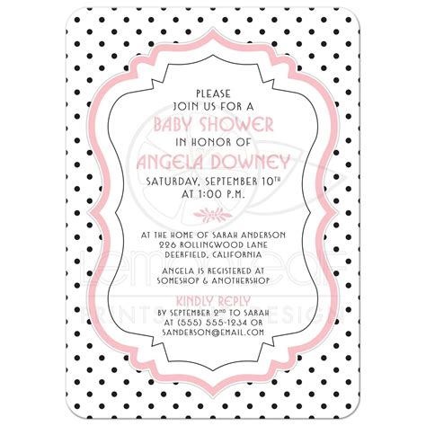 Sweet Designs Kitchen Baby Shower Invite Chic Retro Black White Polka Dots Pink