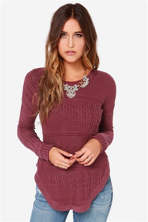 burgundy knit sweater rvca florence sweater burgundy sweater knit sweater