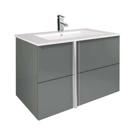 Grey Vanity Unit by Avila Gloss Grey 80cm Wall Hung Vanity Unit