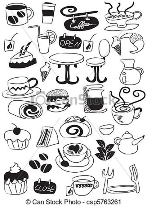 doodle draw icon pack vector clip of doodle coffee and tea icon set doodle