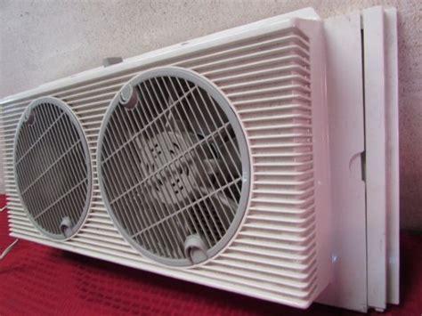 window fan intake or exhaust lot detail holmes air window fan